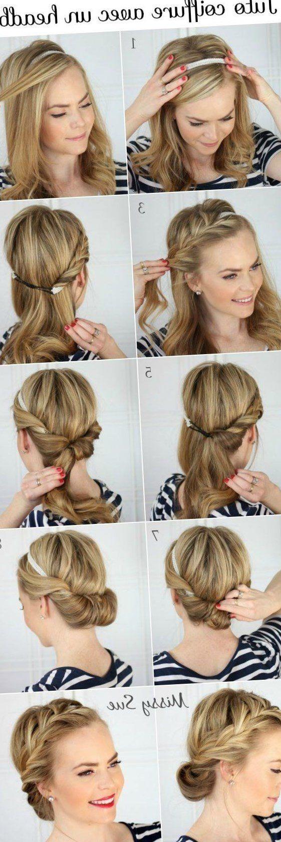 Coiffure De Mariage Frange Headband Et Ondulations Coiffure Facile Coiffure Cheveux Mi Long Coiffures Simples