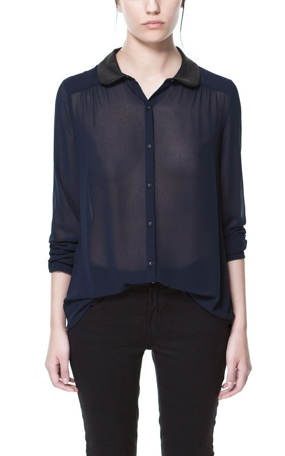 GEORGETTE SHIRT WITH COMBINATION COLLAR