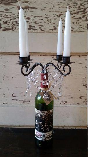 Wedding centerpiece wine bottle candelabra chandelier for Clear wine bottle centerpieces