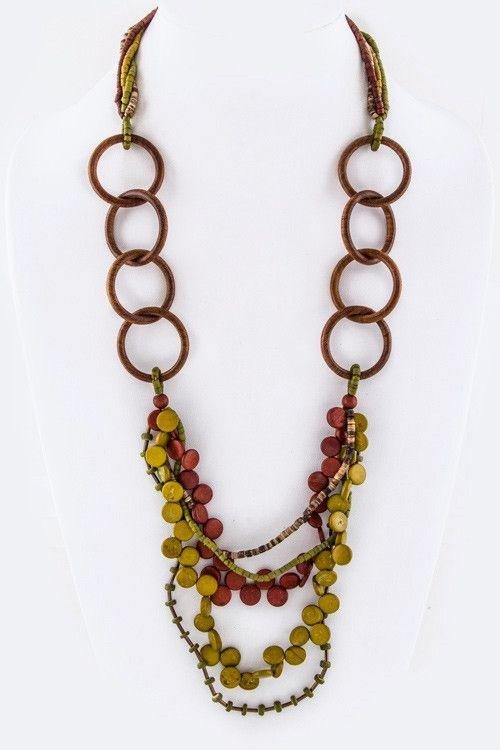 Wooden Beads Hoop Necklace