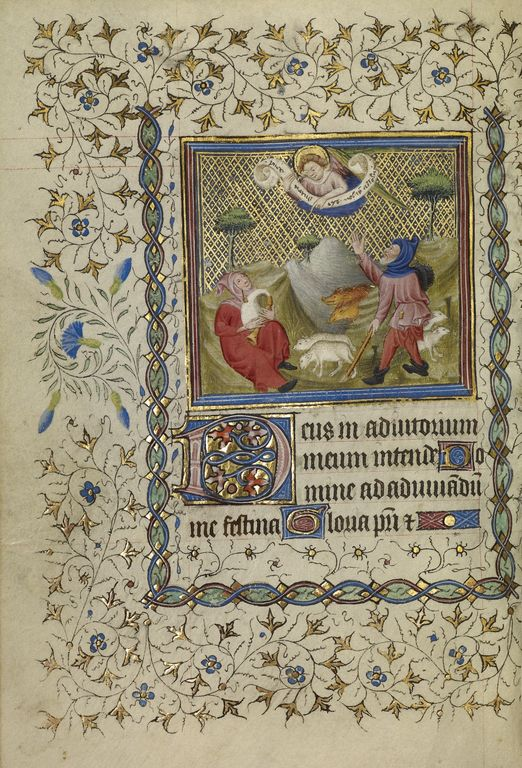 The Annunciation to the Shepherds; Unknown; Paris, France; about 1400 - 1410; Tempera colors, gold leaf, gold paint, and ink on parchment; Leaf: 18.9 x 13.2 cm (7 7/16 x 5 3/16 in.); Ms. Ludwig IX 4, fol. 43v; J. Paul Getty Museum, Los Angeles, California
