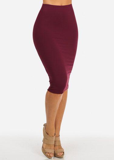 Burgundy High Waist Midi Pencil Skirt