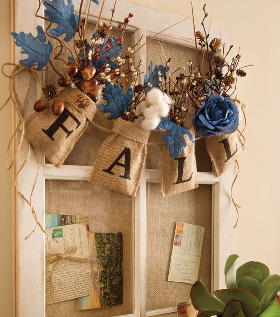 Fall burlap bag floral garland fall home decor fall Burlap bag decorating ideas