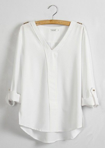 White Plain Epaulet V-neck Long Sleeve Chiffon Blouse | Type 4 ...