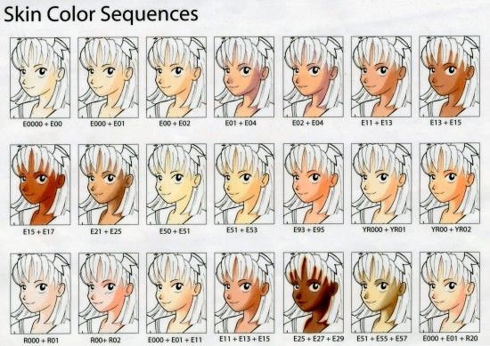 COPIC Markers - Skin Tones Reference Chart - bjl