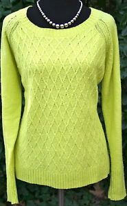 JCP-Citrus-Yellow-Sweater-Wool-Blend-Cable-Knit-Long-Sleeve-Women-PL