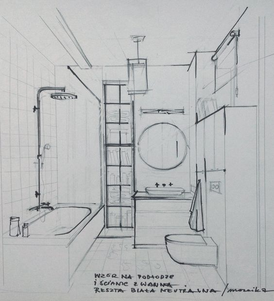 sketch of the bathroom interior sketches and drawings