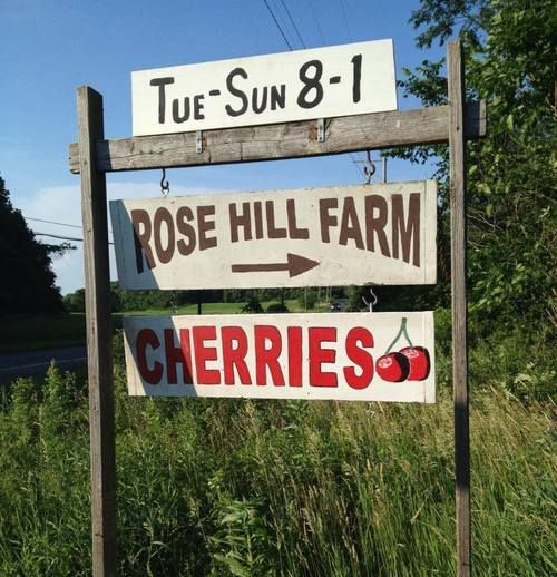 Rose Hill Farm cherry season signage