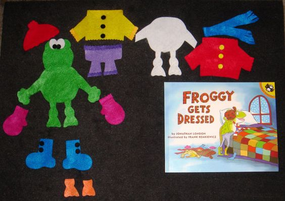 Froggy gets dressed felt board story set by for Froggy gets dressed template