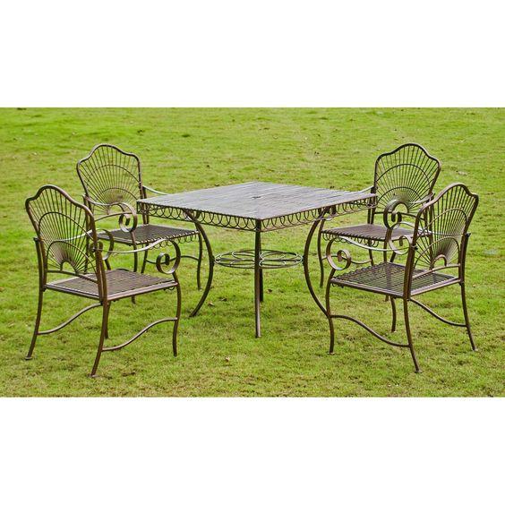 International Caravan Sun Ray Five-piece Iron Lawn Furniture Set | Overstock.com $571.99