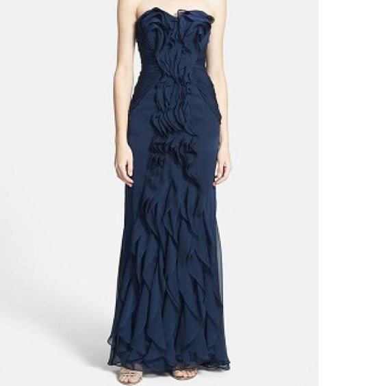 Strapless full length PAPELL with front ruffle Midnight blue chiffon lightweight fabric perfect for wedding ❤️ Adrianna Papell Dresses
