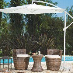 Sombrilla de jardín lateral, mesa y juego de sillas