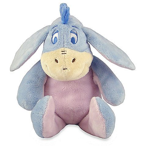"This super-soft 9"" Eeyore plush toy, made from 100% polyester, is perfect for snuggling and sweet hunny dreams! He features a jingle in his tummy, and crinkle in his big floppy ears to keep Baby giggling."