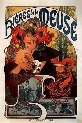 Cette affiche publicitaire réalisée par Alfons Mucha en 1897 pour promouvoir les bières de la Meuse a été reprise dans l'iconographie du mus...