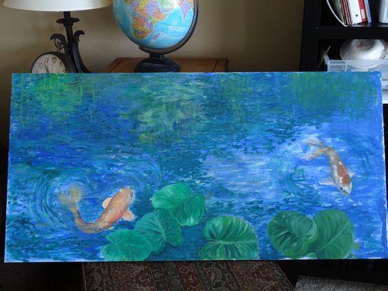 Koi fish acrylic canvas painting