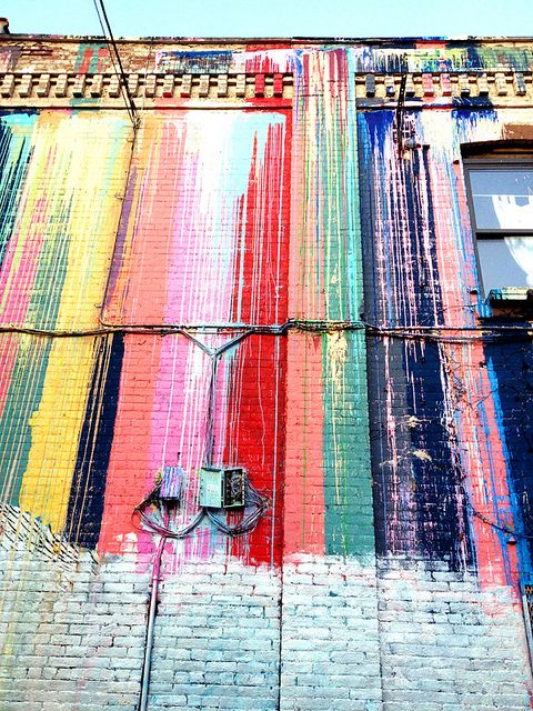 katie soloker awesome art installation: Paint Wall, Brick Wall, Colorful Building, Street Art, Katie Soloker, Rainbow Wall, Art Installation