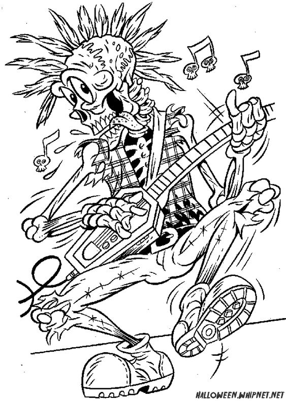 Halloween Coloring Pages for Adults | Skull Rock Coloring Pages