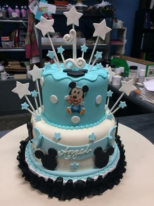 Cool Baby Mickey First Birthday Cake Adrienne Co Bakery With Funny Birthday Cards Online Alyptdamsfinfo