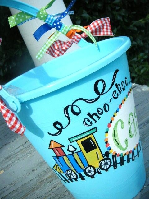 handpainted  personalized choo choo TRAIN  easter  basket by dillydAllie: