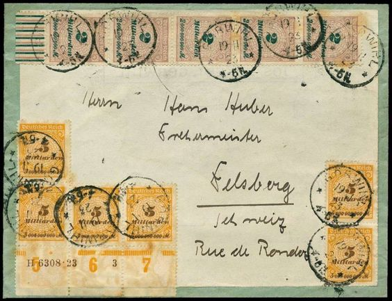 1923.19. 11., cover from GÖSWIHL to Switzerland, with amongst other things strip from lower margin Michel no. 327 A with HAN H 6308. 23, fra...