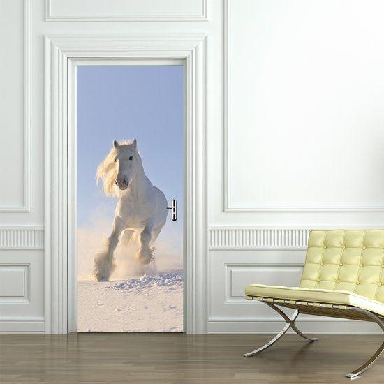 Walplus Deur Decoratie Sticker Wit Paard Wit Blauw Deur Decoratie Wit Paard Stickers