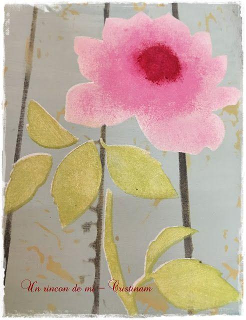 Un rincón de mi: Rosa grande...Paso a paso como pintar flores con stencil de…