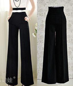 2012 hot selling fashion slim black high waist wide leg women's pants