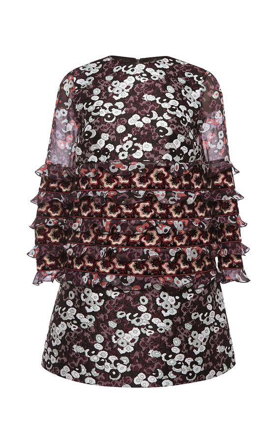 Silk Ruffled Mini Dress  by Giamba Now Available on Moda Operandi