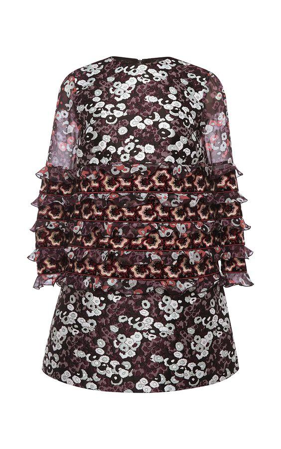 Silk Ruffled Mini Dress  by Giamba Now Available on Moda Operandi