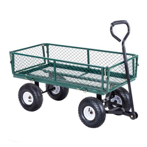 Heavy Duty Steel Lawn Garden Utility Cart Wagon Yard Landscape Tractor Trailer Ebay Garden Wagon Heavy Duty Wagon