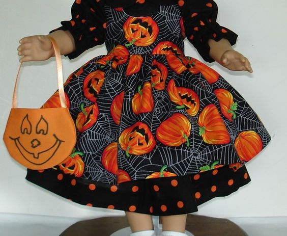 HALLOWEEN PINAFORE DRESS WITH EXTRAS FITS by MargaretteDesigns4AG