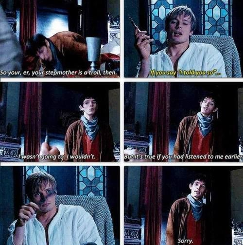 Merlin and Arthur. I can't be the only one who has always thought that Arthur just looked really attractive in this scene. xP