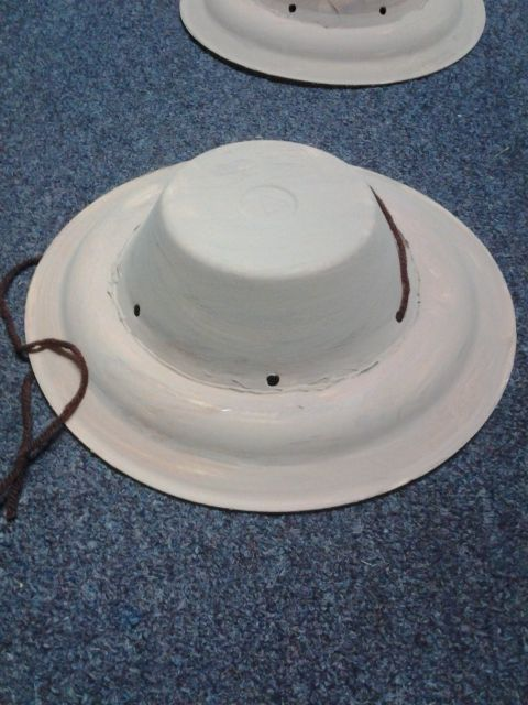 Safari Hats Made Out Of Styrofoam Plates And Bowls