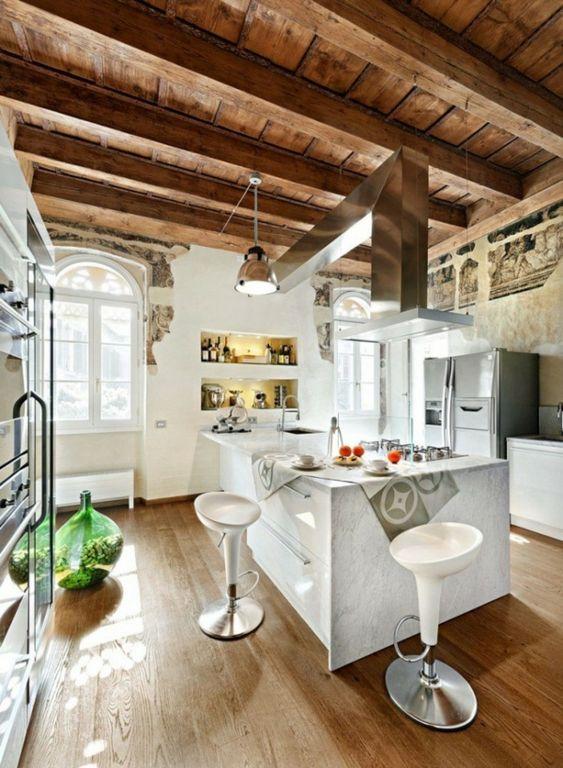 Moderne küchen mit insel holz  20 moderne Kücheninsel Designs - ländlich küche insel holz dach ...
