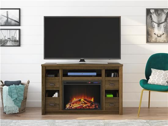 Ameriwood Furniture Adams Tv Stand With Fireplace For Tvs Up To