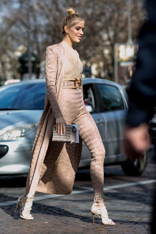 Elena Perminova in Balmain - Fall 2016 Paris Fashion Week Street Style - March 3, 2016 #pfw: