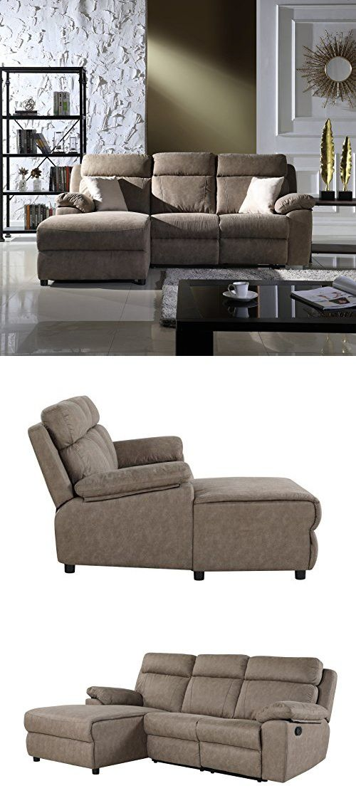 Classic Traditional Small Space Reclining Sectional Sofa L Shape Recliner Couch Beige Sectional Sofa With Recliner Reclining Sectional Couch