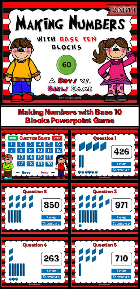 ******Freebie***** Practice place value with this fun, competitive powerpoint game. In this game, it's boys against girls to see who can correctly identify numbers when given only the base ten blocks. There are a total of 20 questions and answers range from 0 to 999.