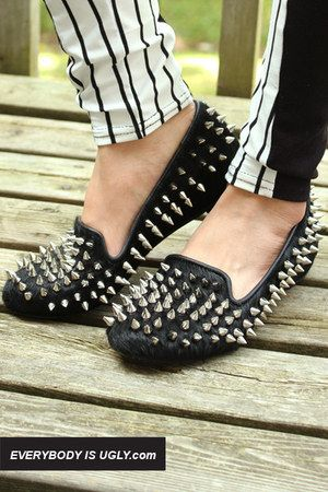 DIY Spiked Loafers - A great alternative if you're still drooling over Louboutin's Rollerball Spiked Loafers.