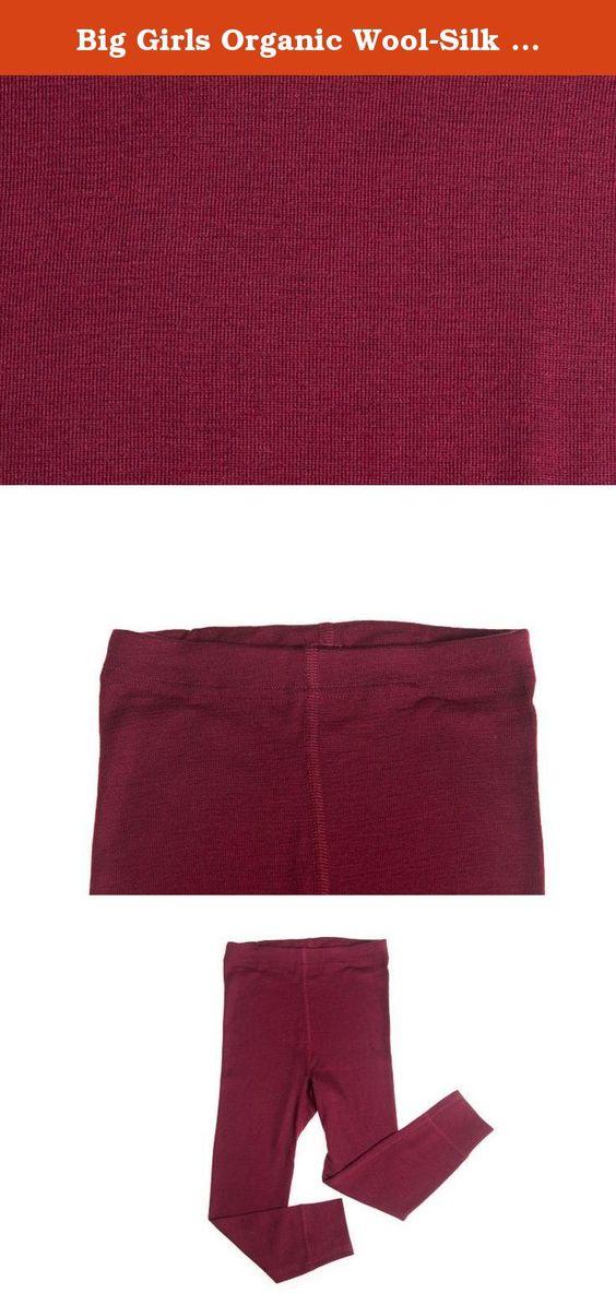 Big Girls Organic Wool-Silk Long-Underwear Pants, Bordeaux, s. 140 ...