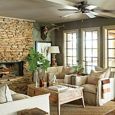Comfortable living room lake house in the trees paint colors lakes and fireplaces - Small lake house interiors ...