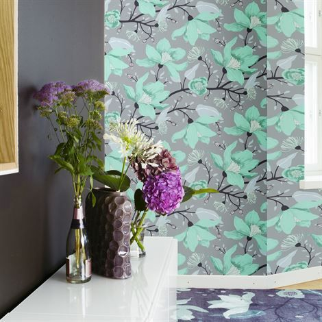 69 - Clematis wallpaper - beige - Vallila Interior