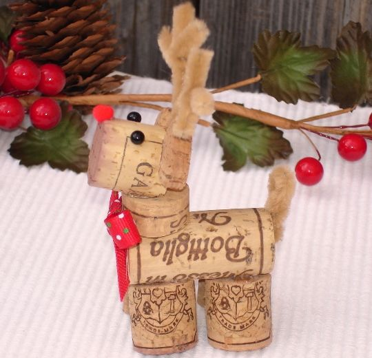 Reindeer wine cork art decoration no directions in the - Eltern weihnachtsgeschenke ...
