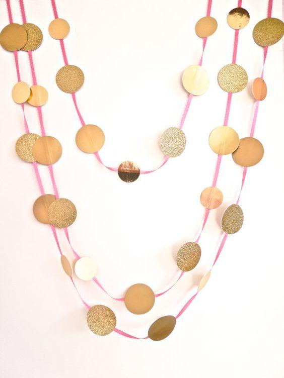 Gold and pink dots garland birthday garland party garland for Gold dot garland