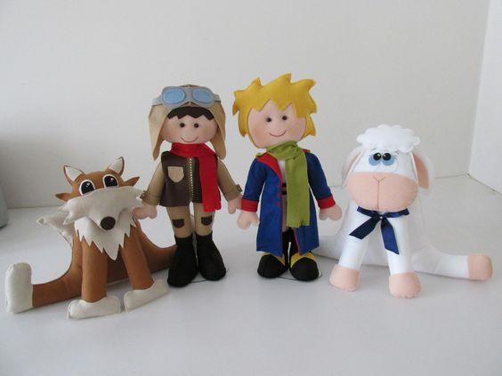 kit pequeno príncipe em feltro <br>Tamanho: <br>raposa 30cm <br>ovelha 30 cm <br>Príncipe e aviador 40 cm
