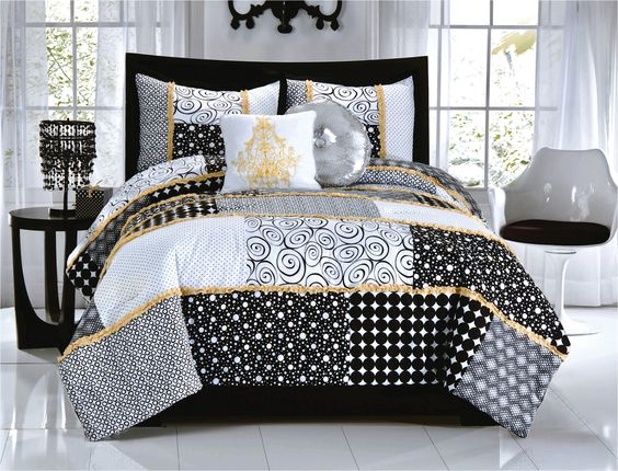 Elegant Black White Dot Scroll Teen Girl Bedding Twin Full Queen Comfor