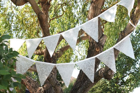 Large Wedding Bunting - Frosted Lace, Over Ten Feet Long. $34.00, via Etsy.