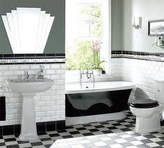 Black & White Bathroom- LOVE THAT ART DECO Mirror!!!