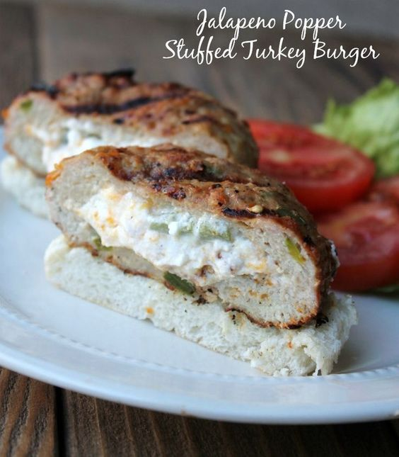 Jalapeño Popper Stuffed Turkey Burger. This is one of the best turkey burgers recipes ever!!