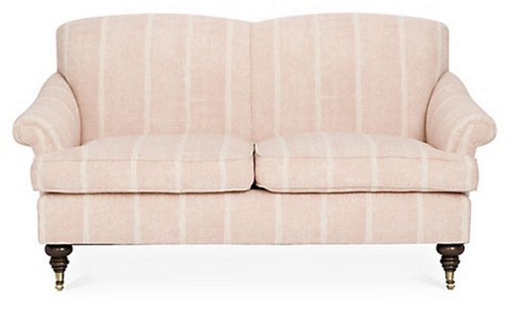 Blush striped loveseat